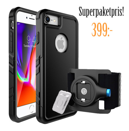PAKETPRIS! RockyLife Run Kit iPhone 7/8 shockproof